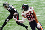Chicago Bears tight end Jimmy Graham (80) misses the catch in the end zone against the Atlanta Falcons during the second half of an NFL football game, Sunday, Sept. 27, 2020, in Atlanta. (AP Photo/Brynn Anderson)