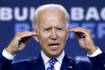 FILE - In this July 28, 2020 file photo, Democratic presidential candidate former Vice President Joe Biden speaks at a campaign event at the William