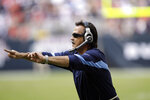 FILE — In this Nov. 28, 2010, file photo, former Tennessee Titans head coach Jeff Fisher argues a call against the Houston Texans in an NFL football game in Houston. The Titans announced July 14, 2021, that Fisher, former Houston Oiler head coach Bum Phillips, and former Titans general manager Floyd Reese will be the newest members of the Tennessee Titans' ring of honor. (AP Photo/David J. Phillip, File)