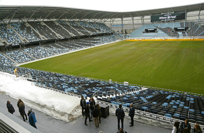 In this March 18, 2019, photo, the pitch and stadium of the Minnesota United FC Loons is shown in St. Paul, Minn. The MLS soccer team's home opener is April 13 against New York City FC in the new privately-funded Allianz Field stadium in St. Paul, Minn. (AP Photo/Jim Mone)