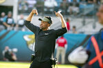 FILE - Then-Jacksonville Jaguars wide receivers coach Keenan McCardell signals from the sideline during the second half of an NFL football game against the Tampa Bay Buccaneers in Jacksonville, in this Sunday, Dec. 1, 2019, file photo. The Minnesota Vikings hired Keenan McCardell as wide receivers coach after he was not retained by new Jacksonville head coach Urban Meyer. (AP Photo/Stephen B. Morton, File)