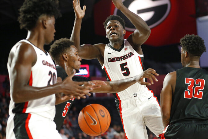 Georgia's Anthony Edwards (5) loses the ball during a college basketball exhibition game against Valdosta State in Athens, Ga., Friday, Oct. 18, 2019. (Joshua L. Jones/Athens Banner-Herald via AP)