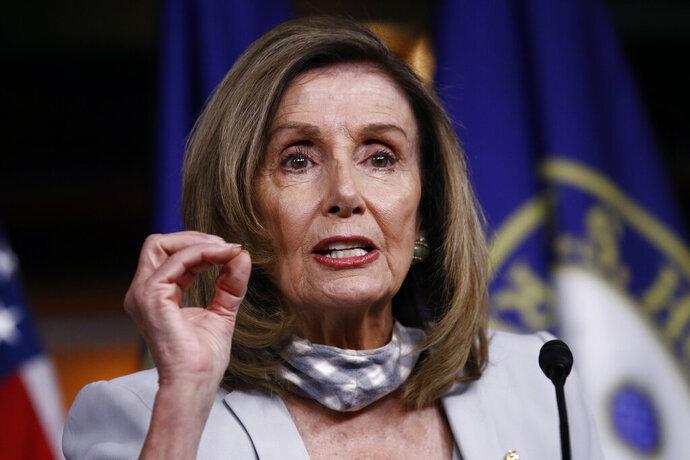 House Speaker Nancy Pelosi of Calif., speaks during a news conference on Capitol Hill in Washington, Thursday, Aug. 13, 2020. (AP Photo/Patrick Semansky)