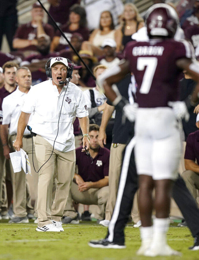 Texas A&M coach Jimbo Fisher yells to his team during the second half of an NCAA college football game against Texas State, Thursday, Aug. 29, 2019, in College Station, Texas. (AP Photo/Sam Craft)