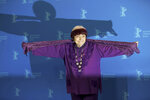 Director Agnes Varda pose for photographers during a photo-call for the film 'Varda by Agnes' at the 2019 Berlinale Film Festival in Berlin, Germany, Wednesday, Feb. 13, 2019. ( Joerg Carstensen/dpa via AP)