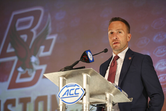 Boston College head coach Jeff Hafley answers a question during an NCAA college football news conference at the Atlantic Coast Conference media days in Charlotte, N.C., Thursday, July 22, 2021. (AP Photo/Nell Redmond)