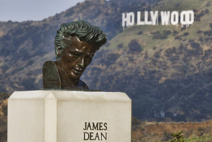 This Friday, Jan. 17, 2020, photo shows a bust of actor James Dean at the Griffith Observatory in the Griffith Park area of Los Angeles. Travis Cloyd, who is leading the revival of Dean for his appearance in