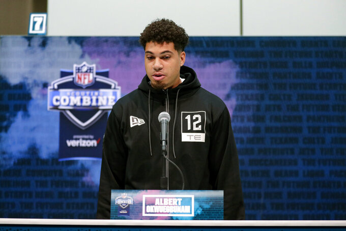 Missouri tight end Albert Okwuegbunam speaks during a press conference at the NFL football scouting combine in Indianapolis, Tuesday, Feb. 25, 2020. (AP Photo/Michael Conroy)