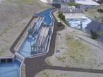 This photo taken Sept. 11, 2019 shows a model of the $23.5 million fish passage project that that the U.S. Bureau of Reclamation has launched at Derby Dam in Wadsworth, Nev., about 20 miles east of Reno, to help the threatened Lahontan cutthroat trout pass upstream to their native spawning grounds cutoff since the dam was built in 1905. Before that, the trout once believed to have gone extinct would migrate from Pyramid Lake in the high desert 120 miles upstream to spawn in Lake Tahoe. (AP Photo/Scott Sonner)