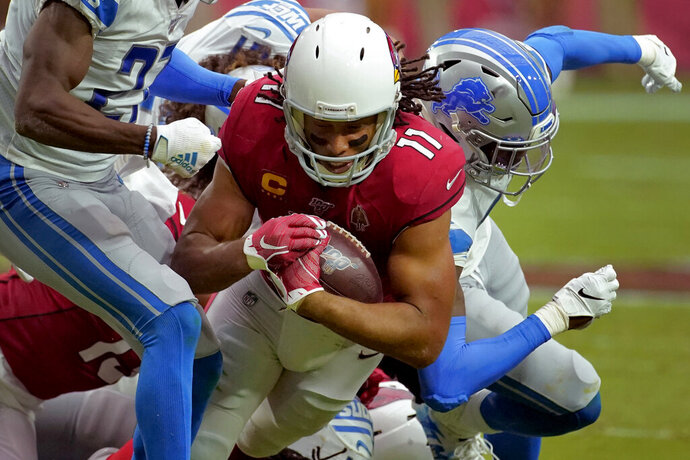 Arizona Cardinals wide receiver Larry Fitzgerald (11) makes a catch against the Detroit Lions during the second half of an NFL football game, Sunday, Sept. 8, 2019, in Glendale, Ariz. (AP Photo/Rick Scuteri)