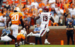 South Carolina wide receiver Shi Smith (13) outruns Tennessee defensive back Kenneth George Jr. (41) and defensive back Bryce Thompson (20) for a touchdown in the first half of an NCAA college football game Saturday, Oct. 26, 2019, in Knoxville, Tenn. (AP Photo/Wade Payne)
