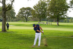 Bryson DeChambeau, of the United States, hits out of the rough on the second hole during the first round of the US Open Golf Championship, Thursday, Sept. 17, 2020, in Mamaroneck, N.Y. (AP Photo/John Minchillo)