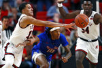 Texas Tech's Kevin McCullar (15) steals the ball from Tennessee State's Shakem Johnson (10) during the first half of an NCAA college basketball game Thursday, Nov. 21, 2019, in Lubbock, Texas. (AP Photo/Brad Tollefson)