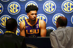 LSU's Skylar Mays speaks during the Southeastern Conference NCAA college basketball media day, Wednesday, Oct. 16, 2019, in Birmingham, Ala. (AP Photo/Butch Dill)
