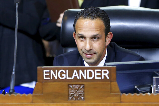 FILE - This May 19, 2015 file photo shows Los Angeles City Council member Mitchell Englander during a City Council meeting in Los Angeles. Englander the former city councilman agreed Friday, March 27, 2020 to plead guilty to obstructing an investigation into accepting tens of thousands of dollars in cash, female escort services and other expensive gifts from a businessman pursuing major real-estate deals in Los Angeles. (AP Photo/Damian Dovarganes, File)