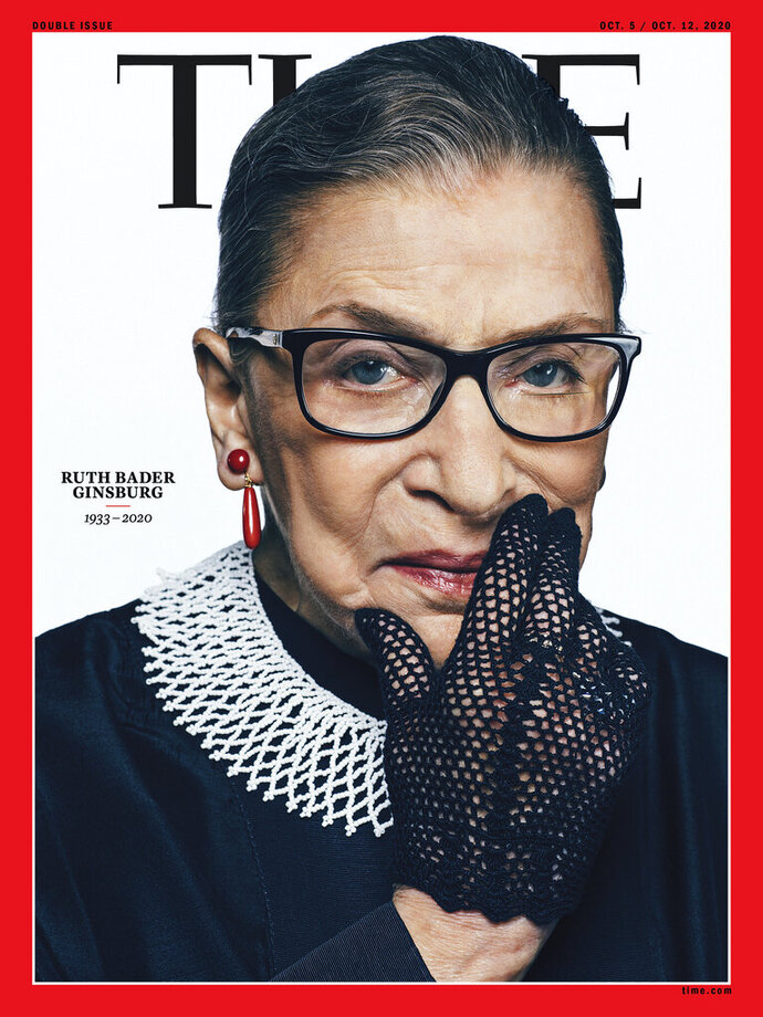 This photo provided by Time shows the cover of Time magazine with tribute Supreme Court Justice Ruth Bader Ginsurg on the cover.   Time will feature Ginsburg for an October double issue presenting the 2020 Time 100 list of the world's most influential people.  Ginsburg, who became the court's second female justice, died at her home in Washington on Friday, Sept. 18, 2020. She was 87.(Time Magazine via AP)