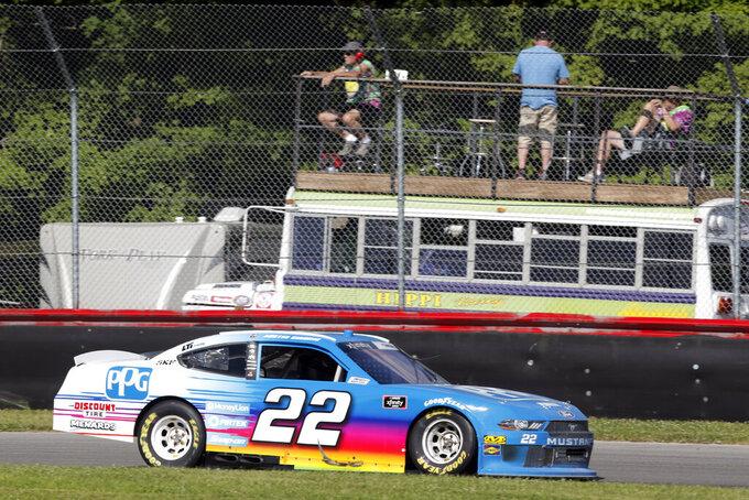 Austin Cindric races his car during a NASCAR Xfinity Series auto race, Saturday, Aug. 10, 2019, at Mid-Ohio Sports Car Course in Lexington, Ohio. (AP Photo/Tom E. Puskar)