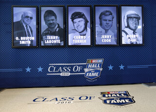 Bruton Smith, Terry Labonte, Curtis Turner, Jerry Cook, and Bobby Isaac
