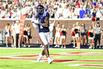 Mississippi wide receiver Jonathan Mingo (1) makes a touchdown catch against Austin Peay during an NCAA college football game in Oxford, Miss., Saturday, Sept. 11, 2021. (AP Photo/Bruce Newman)