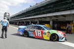 Monster Energy NASCAR Cup Series driver Kyle Busch pulls out of the garage during practice for the NASCAR Brickyard 400 auto race at the Indianapolis Motor Speedway, Saturday, Sept. 7, 2019 in Indianapolis. (AP Photo/Darron Cummings)