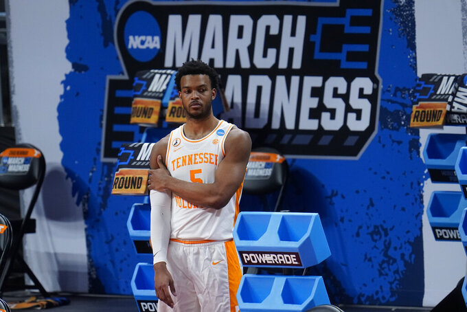 Tennessee guard Josiah-Jordan James (5) watches during the second half of a men's college basketball game against Oregon State in the first round of the NCAA tournament at Bankers Life Fieldhouse in Indianapolis, Friday, March 19, 2021. Oregon State won 70-56. (AP Photo/Paul Sancya)