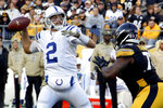 Indianapolis Colts quarterback Brian Hoyer (2) looks to pass as Pittsburgh Steelers nose tackle Javon Hargrave (79) rushes in the second half of an NFL football game , Sunday, Nov. 3, 2019, in Pittsburgh. (AP Photo/Gene J. Puskar)