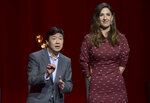 Ken Jeong, left, and D'Arcy Carden speak at the 71st Primetime Emmy Nominations Announcements at the Television Academy's Saban Media Center on Tuesday, July 16, 2019, in Los Angeles. (Photo by Richard Shotwell/Invision/AP)