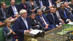 In this image taken from video, Britain's Prime Minister Boris Johnson gives a statement to the House of Commons in London, Thursday Oct. 3, 2019. British Prime Minister Boris Johnson sought Thursday to build a coalition in the House of Commons to support his fresh Brexit approach, even as European leaders offered a guarded welcome to the measure. (Parliament UK via AP)
