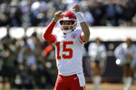 Kansas City Chiefs quarterback Patrick Mahomes (15) yells before a play during the first half of an NFL football game against the Oakland Raiders Sunday, Sept. 15, 2019, in Oakland, Calif. (AP Photo/Ben Margot)
