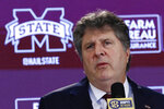 FILE - In this Jan. 10, 2020, file photo, Mississippi State NCAA college football coach Mike Leach speaks at a news conference in Starkville, Miss. LSU enters Saturday's season opener with Myles Brennan taking over at quarterback for Heisman Trophy winner Joe Burrow while Mississippi State has a new coach in Mike Leach whose reputation for high-flying offenses precedes him. (AP Photo/Rogelio V. Solis, File)
