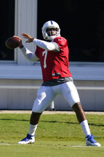 Indianapolis Colts quarterback Jacoby Brissett throws during practice at the NFL team's football training camp, Saturday, Aug. 22, 2020, in Indianapolis. (AP Photo/Darron Cummings)