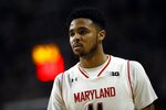"FILE - In this Sunday, Jan. 28, 2018, file photo, Maryland guard Jared Nickens walks on the court in the second half of an NCAA college basketball game against Michigan State in College Park, Md. A federal judge has dismissed a lawsuit in which two former University of Maryland men's basketball players accused makers of the ""Fortnite"" video game of misappropriating a dance move that the ex-teammates popularized. U.S. District Judge Paul Grimm in Maryland ruled FridayMay 29, 2020, that the Copyright Act preempts claims that Jared Nickens and Jaylen Brantley filed in February 2019 against Epic Games Inc., creator of the wildly popular online shooting game.  (AP Photo/Patrick Semansky, File)"