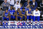 Seton Hall players sit on the bench in the closing minutes of the second half of an NCAA college basketball game against Creighton in Omaha, Neb., Saturday, March 7, 2020. Creighton won 77-60. (AP Photo/Nati Harnik)