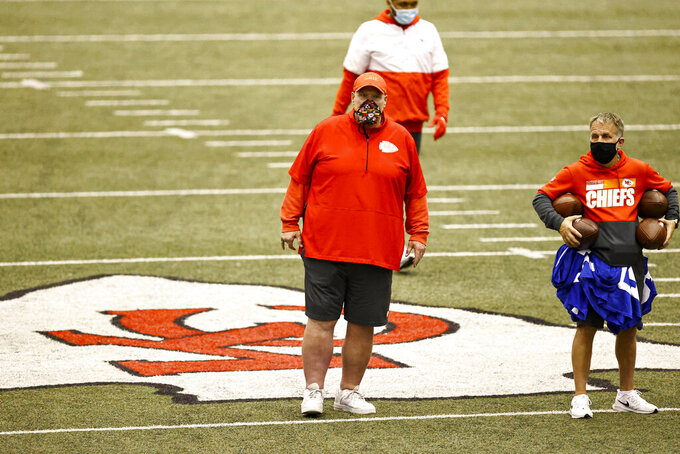 Kansas City Chiefs Head Coach Andy Reid during NFL football practice Thursday, Feb. 4, 2021, in Kansas City, Mo. The Chiefs will face the Tampa Bay Buccaneers in Super Bowl 55. (Steve Sanders/Kansas City Chiefs via AP)