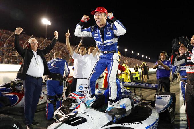 Takuma Sato celebrates after winning an IndyCar auto race at World Wide Technology Raceway, Saturday, Aug. 24, 2019, in Madison, Ill. (AP Photo/Jeff Roberson)