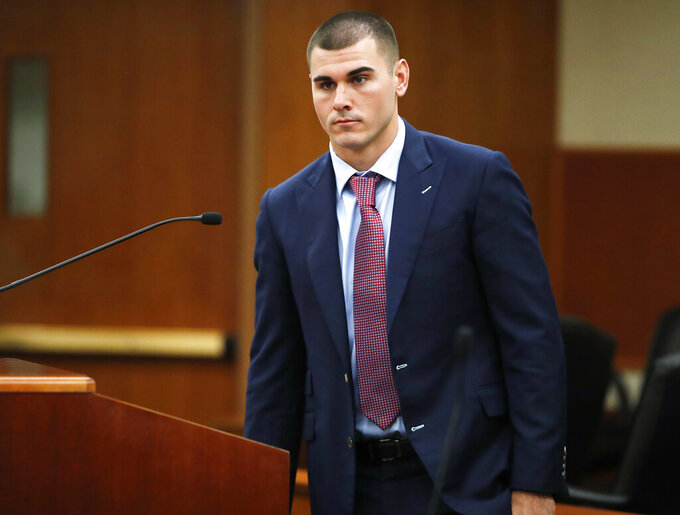 File - In this Oct. 24, 2018 file photo, Denver Broncos backup quarterback Chad Kelly appears for a hearing in the Arapahoe County Courthouse in Centennial, Colo. Kelly has pleaded not guilty to first-degree criminal trespassing after being accused of entering a couple's suburban Denver home uninvited. KDVR-TV reports that Kelly entered the plea on Monday, March 4, 2019, in Arapahoe County District Court. (AP Photo/David Zalubowski, Pool, File)