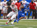 Georgia State running back Destin Coates (17) dodges a tackle from Louisiana-Lafayette linebacker Jasper Williams (36) in the first half of an NCAA college football game, Saturday, Sept. 19, 2020, in Atlanta. (Daniel Varnado/Atlanta Journal-Constitution via AP)