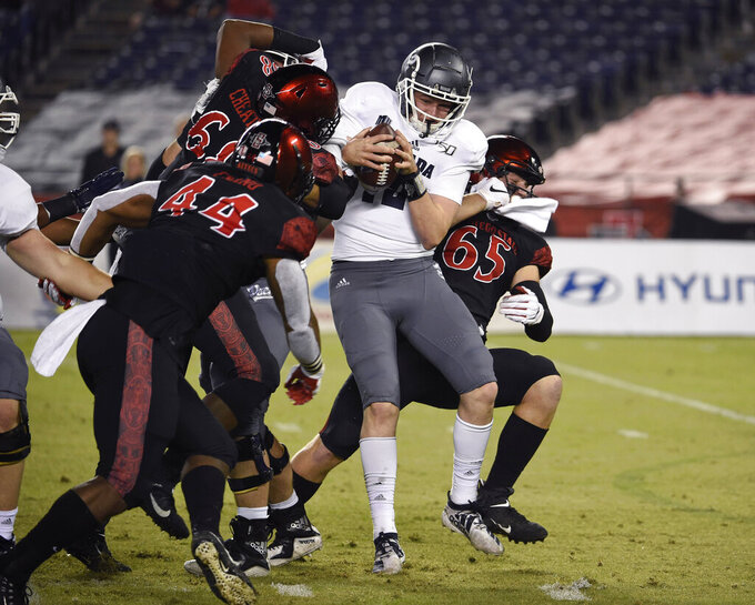 Nevada quarterback Carson Strong (12) is sacked by San Diego State defenders during the first half of a college football game Saturday, Nov. 9, 2019, in San Diego. CA. (AP Photo/Denis Poroy)