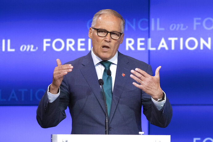 Democratic Presidential candidate Washington Gov. Jay Inslee speaks at the Council on Foreign Relations, Wednesday, June 5, 2019 in New York. (AP Photo/Mark Lennihan)