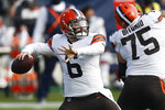 Cleveland Browns quarterback Baker Mayfield (6) passes against the Tennessee Titans in the first half of an NFL football game Sunday, Dec. 6, 2020, in Nashville, Tenn. (AP Photo/Wade Payne)