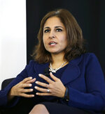 Neera Tanden, president of Center for American Progress, speaks during an introduction for New Start New Jersey at NJIT in Newark, NJ, Monday, Nov. 10, 2014. President-elect Joe Biden will have an all-female senior communications team at his White House, led by campaign communications director Kate Bedingfield. Tanden will be director of the Office of Management and Budget, according to a person familiar with the transition process granted anonymity to speak freely about internal deliberations. (AP Photo/Mel Evans)