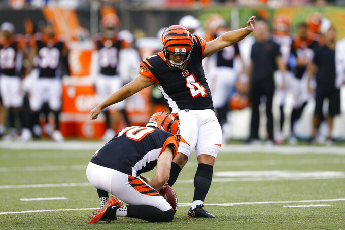 Cincinnati Bengals' Randy Bullock (4) kicks an extra point during the first half of the team's NFL preseason football game against the New York Giants, Thursday, Aug. 22, 2019, in Cincinnati. (AP Photo/Gary Landers)