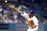 Los Angeles Dodgers relief pitcher Mitch White throws to a Pittsburgh Pirates batter during the second inning of a baseball game Wednesday, Aug. 18, 2021, in Los Angeles. (AP Photo/Marcio Jose Sanchez)