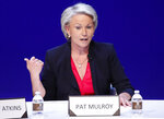 FILE- In this May 14, 2018, file photo, Pat Mulroy speaks during a women's forum at the Wynn hotel and casino in Las Vegas. The chairwoman of the internal committee of Wynn Resorts looking into the sexual misconduct allegations leveled against the casino operator's founder said Wednesday, May 16, more than 100 people have been interviewed in the investigation. (AP Photo/John Locher, File)