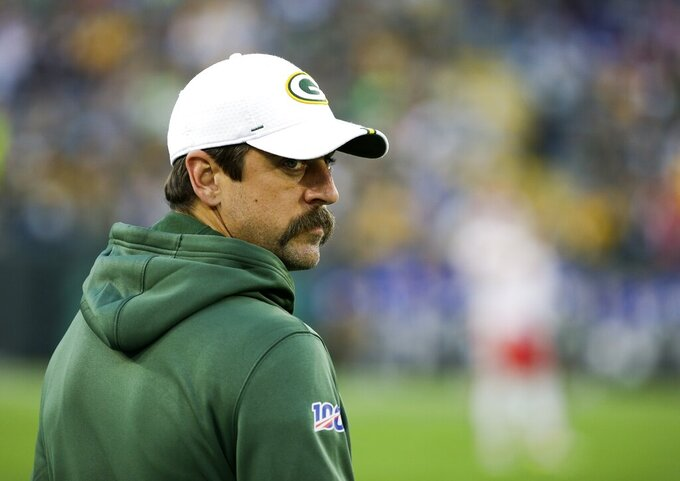 Green Bay Packers' Aaron Rodgers watches during the first half of a preseason NFL football game against the Kansas City Chiefs Thursday, Aug. 29, 2019, in Green Bay, Wis. (AP Photo/Mike Roemer)