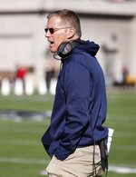 FILE - In this Nov. 25, 2017, file photo, Connecticut head coach Randy Edsall argues a call during the first half of an NCAA college football game against Cincinnati, in Cincinnati. Connecticut plays at undefeated South Florida on Saturday, Oct. 20, 2018. (AP Photo/Gary Landers, File)