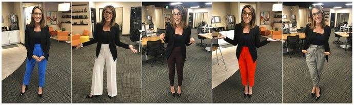 """This combination of photos provided by Maggie Vespa shows Vespa, a weekend news anchor and TV reporter at NBC affiliate KGW-TV in Portland, Oregon, wearing a variety of high-waisted pants she wore for five separate news casts over the weekend. Vespa wore the pants after a male viewer told her to """"dress like a normal woman"""" in a message sent to her Facebook work account. She wanted to draw attention to the pressure that women who work in the public eye face on a daily basis. (Maggie Vespa via AP)"""