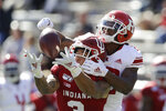 Indiana wide receiver Ty Fryfogle (3) is defended by Rutgers defensive back Damon Hayes (22) during the second half of an NCAA college football game, Saturday, Oct. 12, 2019, in Bloomington, Ind. Indiana won 35-0. The pass was incomplete. (AP Photo/Darron Cummings)