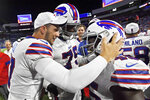 Buffalo Bills' Christian Wade, right, celebrates his touchdown with quarterback Josh Allen, left, during the second half of an NFL preseason football game against the Indianapolis Colts, Thursday, Aug. 8, 2019, in Orchard Park, N.Y. (AP Photo/Adrian Kraus)