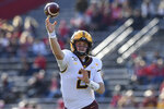 Minnesota quarterback Tanner Morgan (2) passes the ball during the first half of an NCAA college football game against Rutgers Saturday, Oct. 19, 2019, in Piscataway, N.J. (AP Photo/Sarah Stier)